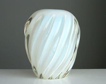 Murano Archimede Seguso Glass Pillow Vase Opaline