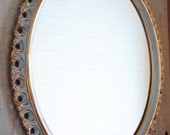 VINTAGE MIRROR, Oval Mirror, Gold and White Mirror, Romantic Cottage, Shabby n Chic, French Provincial, Nursery Wall decor