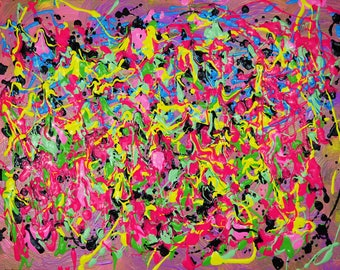 """Colorful Abstract Expressionist Painting by Artist Kellianne O'Brien """"Pink Colorspace"""""""