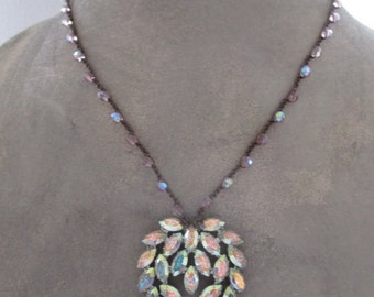 SALE Vintage rhinestone crochet necklace - Sparkle - iridescent pastel eco chic upcycled colorful boho by slashKnots