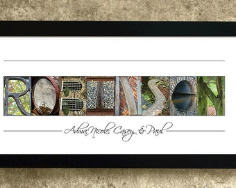 Alphabet Photography Letters, Last Name Print, Alphabet Art Photos, Last Name Gift, Wedding Gifts, Blended Family Gift, Personalized Gift