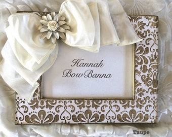 Photo Frame with Bow Wedding Baby White Damask Crown Jewel Custom Color Personalize White Taupe Gold Pink Green Yellow Lavender