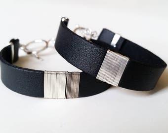 Set of 2 Sterling SILVER & Black LEATHER BRACELET Band - Unisex Cuff Wristband [Bracelet Noir Poignet Argent —Pulsera Brazalete Negro Plata]