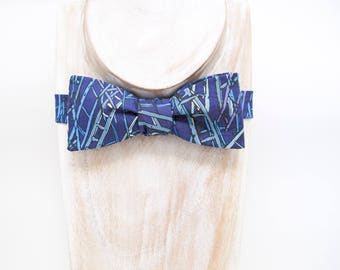 New Spring & Summer Accessories - Blue purple ladder print freestyle bow tie