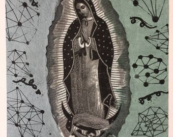 Original art monoprint Lithograph with Chine Colle virgen de Guadalupe iconic religious art