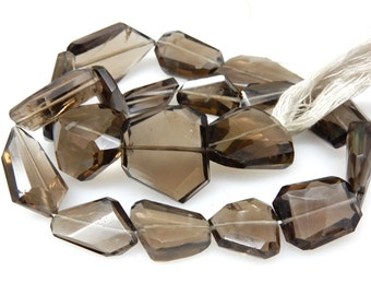 Smokey Quartz Flate Nuggets Faceted Tumble  Beads AAA Quality  14'' Huge Size 12x16MM To 19x24 MM Approx - 244Ct Wholesale Price