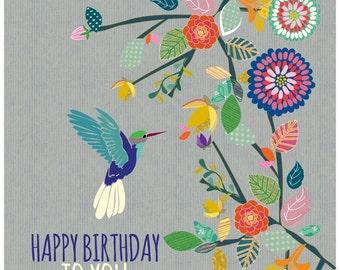 Handmade Birthday Card Hummingbird