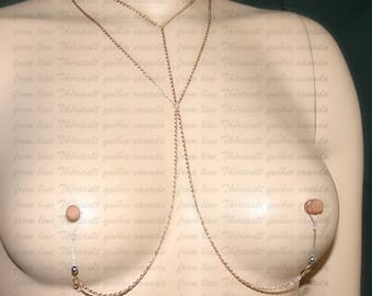 Nipple jewelry with golden chains - Nipple fake piercing - Non-pierced nipple jewelry   (m18 golden large)