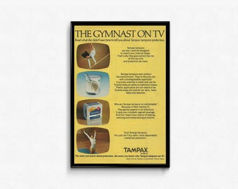 Tampax Tampons Vintage Advertising The Gymnast on TV Ultimate Protection 1970s Feminine Hygiene Products Ad Tampax Magazine Women's Product