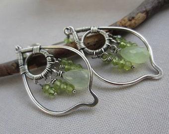 Peridot Earrings/ Silver Wire Earrings/ Apple green Chalcedony and Peridot Earrings/ Silver Chandelier earrings/ Green Chandelier Earrings