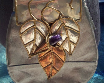 Amazing Genuine Leather Silver Purse with an embellishment of Copper, Forged Brass and Amethyst Stone