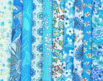 10 Liberty Tana Lawn fabric PIECES - each minimum 5'' x 5'' - TURQUOISE