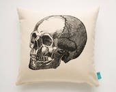 Clearance Skull Pillow - Hand Screen Printed Pillow