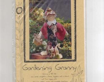 "Doll Pattern,  ""Gardening Granny""  On the Edge Designs, 18 inch Cloth Doll."