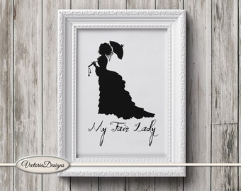 My Fair Lady print printable art black and white print silhouette digital print printable instant download digital collage sheet - VD0313