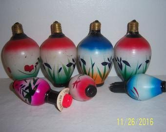 Hand Painted Milk Glass Japanese Lantern Bulbs - Chinese Lanterns - Novelty Mid Century Christmas Light - Figural Christmas Lights  Set of 7