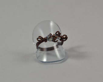 Size 7.5 Ring:  Chocolate Wire and Beading