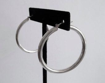 Sterling Silver Hoop Earrings Pierced Italy