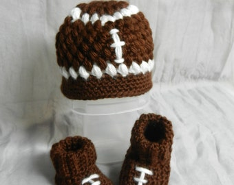 Ready to SHIP/Football Hat & Booties Set
