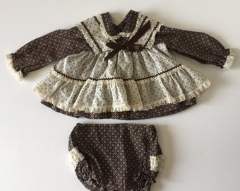 1980's Brown Mini World Dress & Bloomers (6/9 Months)