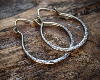 Pirate Jenny. Simple Rustic Sterling Silver Hoops. Weathered Everyday Earrings.
