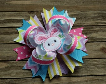 Hair Bow - Easter Bunny Hair bow - Spring Hair Bow - Pastel Chevron and Swiss Dot Bow - Easter Hair Bow