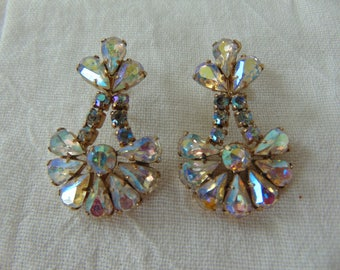 vintage ab crystal earrings clip aurora borealis sparkling gold plated