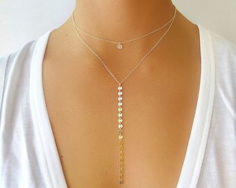 Long Coin Lariet Necklace - Lariet Necklace - Lariat Jewelry