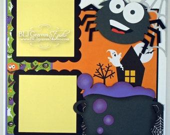 Halloween Spider Premade Scrapbook Page 12x12 Layout Paper Piecing Handmade 16