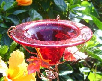 BIRTHDAY Gift, BIRD Feeder, BUTTERFLY Feeder, stained glass, copper, Red, 14K Gold, Garden Art, Suncatcher, outdoor home decor