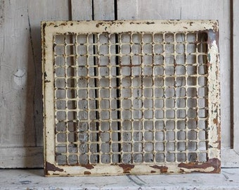 Antique Floor  or Wall Register, Cream White, Rusty Metal Vent Grate 16 x 14