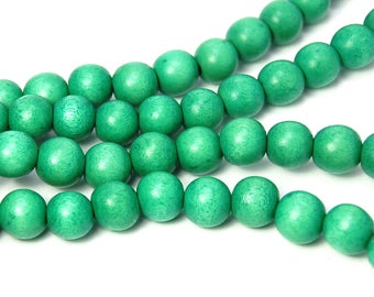 10mm Green Wood Beads -16 inch strand