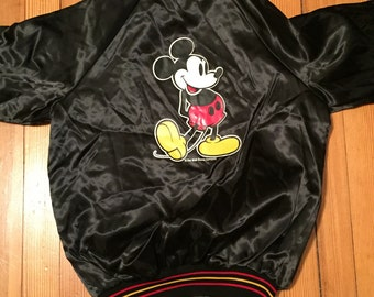 Vintage Mickey Mouse Black Satin Jacket
