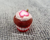 Red velvet cupcake with pink heart polymer clay charm
