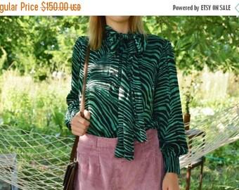 SALE Saint Laurent rive gauche silk  Zebra Print Shirt Vintage 70's bow tie shirt