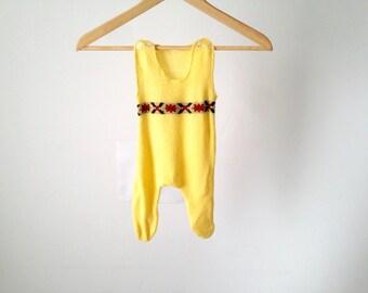 infant YELLOW newborn mid-century knit ONESIE jumper vintage kids baby suit