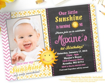 You Are My Sunshine Invitation, Sunshine Birthday Invitations, Little Miss Sunshine Birthday Invitations, Girl 1st Birthday Invitation