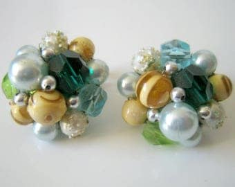 Vintage Green Cluster Clip On Earrings, Made in Japan, Fashion Jewelry