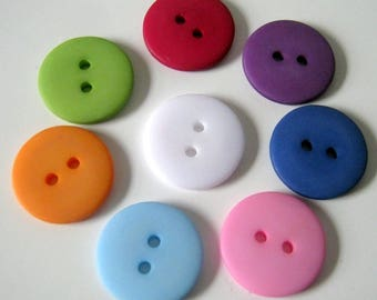 25 18mm Resin Buttons, Two Hole Buttons, Sewing, Crafts