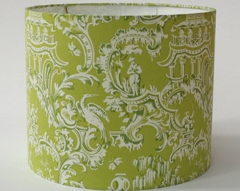 """Lime Green Chinoiserie Lamp Shade 12"""" Diameter x 10"""" Tall - Ready to Ship"""