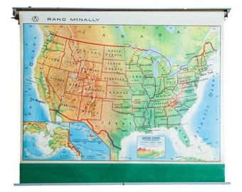 Vintage 1960s America Pull Down Map
