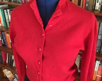 CHERRY RED--The Perfect 1950s Cashmere Cardigan in Red--S,M