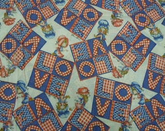 """Vintage Bonnet Girl fabric with LOVE blocks 2.4 yds. x 44"""" cotton novelty Petticoats Pantaloons 1970's off-the-bolt condition Holly Hobbie"""