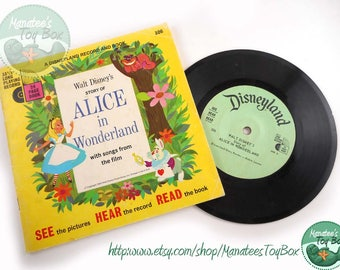 60s Alice in Wonderland Book and Record Set Vintage Disney