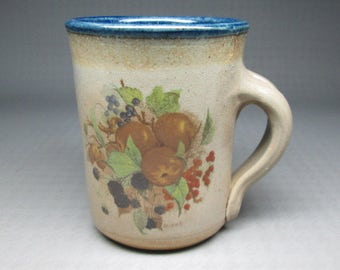 Monroe Salt Works cup , decal of fruit / apples etc salt glazed stoneware