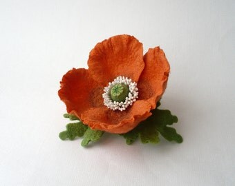 Felt brooch orange Poppy with green leaves, nuno felt flower pin from wool and silk, nunofelt flower, orange, OOAK, ready to ship