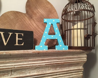 Hand-painted Wooden Letter A - Freestanding - Rockwell Font - Various sizes, finishes and colours