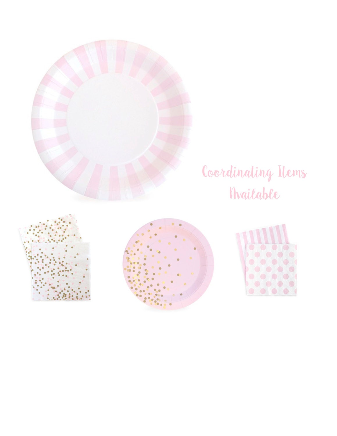 Sold by PartyFix  sc 1 st  Etsy Studio & Pink and White Striped Paper Plates | Large Pink Paper Plates ...