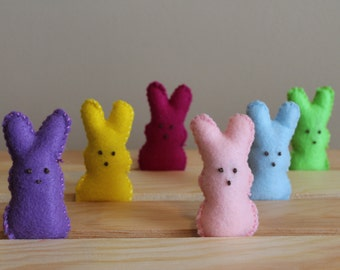 Marshmallow Peeps, Felt Food, Plush Peeps, Felt Food Toy, Marshmallow Bunnies Felt Food, Pretend Play, Play Food, Toddler Toy