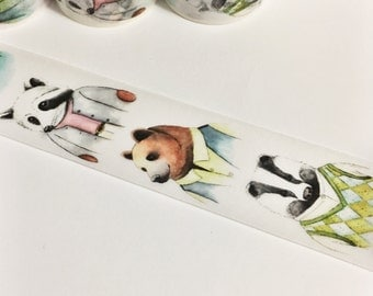 Gorgeous Watercolor Painted Animals in Clothing Washi Tape 5.5 yards 5 meters 30mm